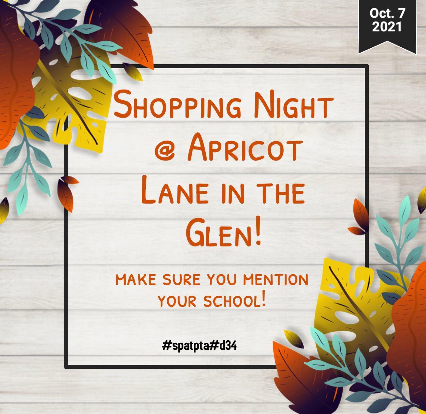 October 7, 2021 Shopping Night @apricot Lane in the Glen