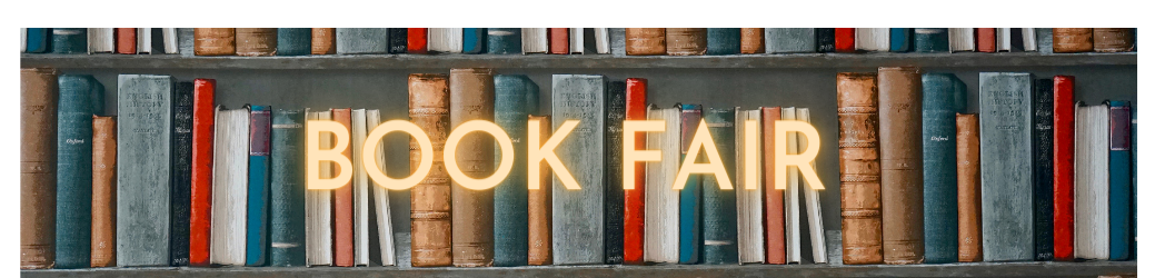 Book Fair with a shelf of old books in the background.