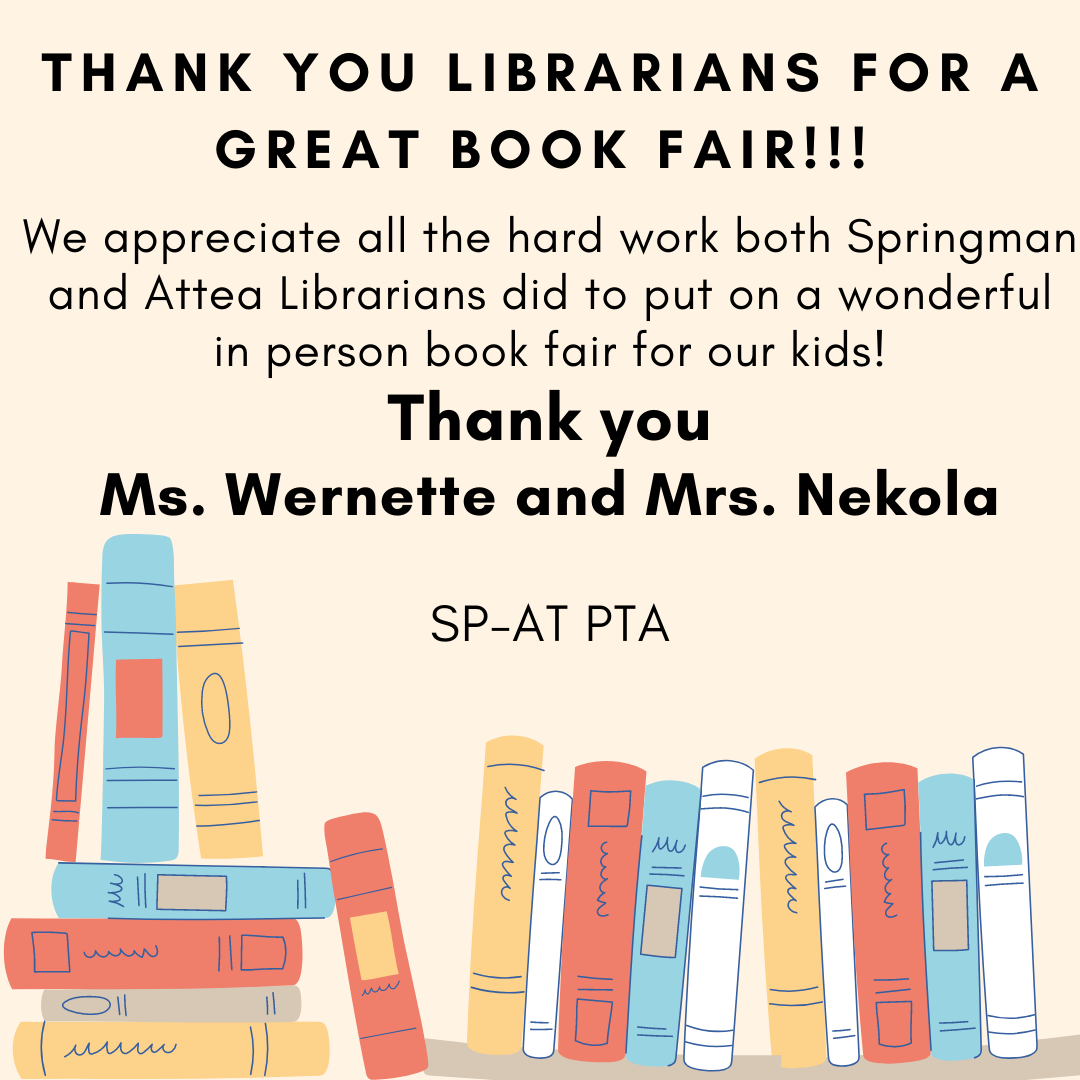 Thank you, Librarians, for a Great Book Fair!!!